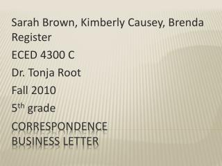 Correspondence Business letter
