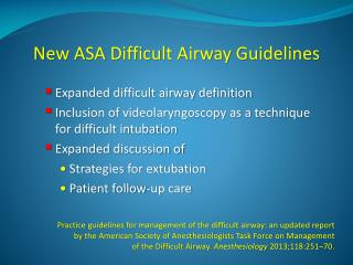 New ASA Difficult Airway Guidelines