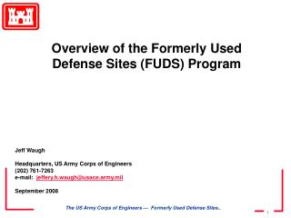 Jeff Waugh Headquarters, US Army Corps of Engineers (202) 761-7263