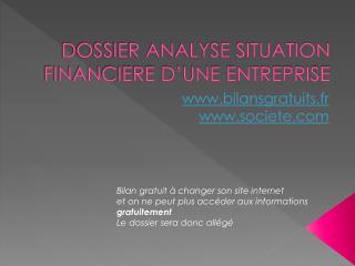 DOSSIER ANALYSE SITUATION FINANCIERE D'UNE ENTREPRISE