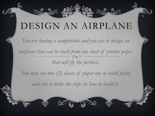 Design an Airplane