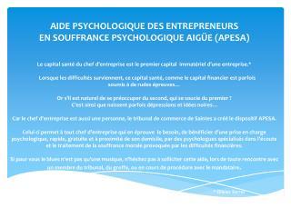 AIDE PSYCHOLOGIQUE DES ENTREPRENEURS