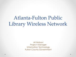 Atlanta-Fulton Public Library Wireless Network