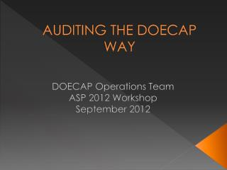 AUDITING THE DOECAP WAY