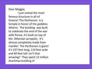 Dear Maggie,