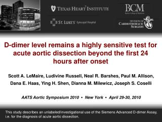 D-dimer level remains a highly sensitive test for acute aortic dissection beyond the first 24 hours after onset