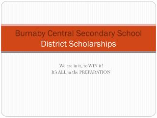 Burnaby Central Secondary School  District Scholarships