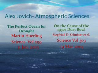 Alex  Jovich - Atmospheric Sciences