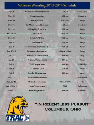 Whitmer  Wrestling 2013-2014 Schedule