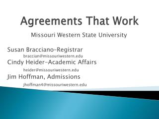 Agreements That Work