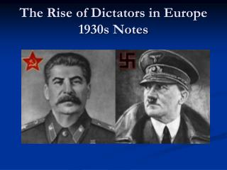 The Rise of  Dictators in Europe 1930s Notes