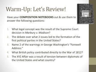 Warm-Up: Let�s Review!