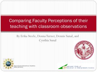 Comparing Faculty Perceptions of their teaching with classroom observations