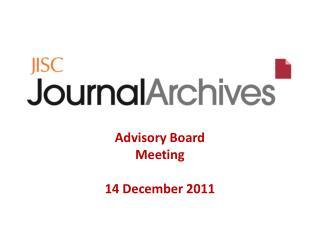 Advisory Board Meeting 14 December 2011