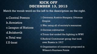 Kick Off December 13, 2013