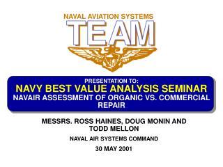 PRESENTATION TO: NAVY BEST VALUE ANALYSIS SEMINAR NAVAIR ASSESSMENT OF ORGANIC VS. COMMERCIAL REPAIR