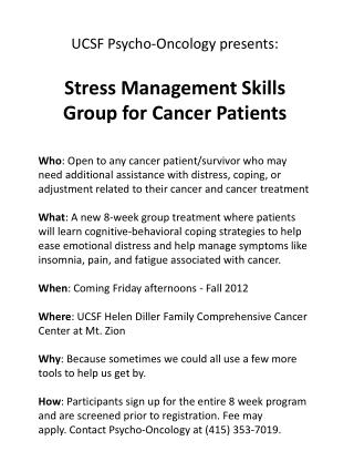 UCSF Psycho-Oncology presents:  Stress Management Skills Group for Cancer Patients