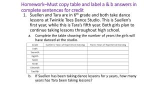 Homework–Must copy table and label a & b answers in complete sentences for credit