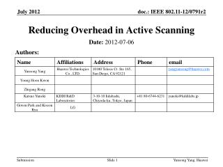 Reducing Overhead in Active Scanning