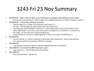 3243  Fri  23 Nov Summary