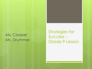 Strategies for Success – Grade 9 Lesson