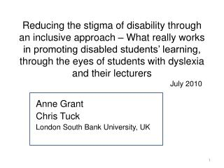 Reducing the stigma of disability through an inclusive approach   What really works in promoting disabled students  lear