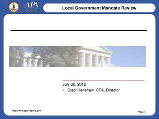 _____________________________________ July 30, 2012 Staci Henshaw, CPA, Director