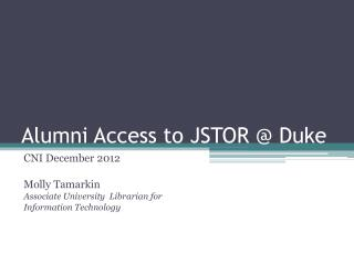 Alumni Access to JSTOR @ Duke