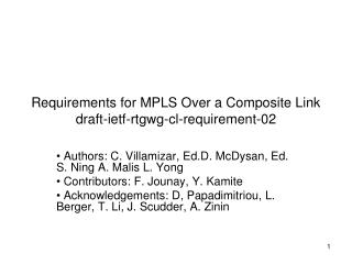 Requirements for MPLS Over a Composite Link  draft-ietf-rtgwg-cl-requirement-02
