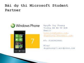Bài dự thi Microsoft Student Partner