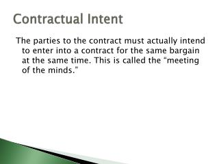 Contractual Intent
