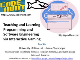 Teaching and Learning Programming and Software Engineering  via Interactive Gaming