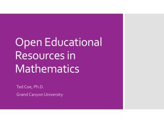 Open Educational Resources in Mathematics