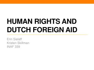 Human Rights and Dutch Foreign Aid