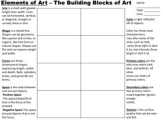Elements of Art  – The Building Blocks of Art