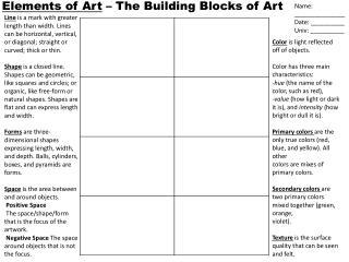 Elements of Art  � The Building Blocks of Art