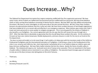 Dues Increase…Why?
