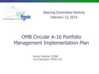 OMB Circular A-16 Portfolio Management Implementation Plan