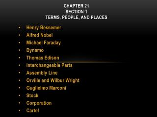 CHAPTER  21  Section 1 Terms, People, and Places