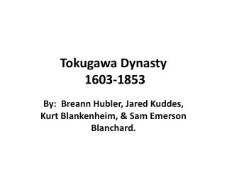 Tokugawa Dynasty  1603-1853