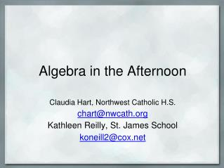 Algebra in the Afternoon