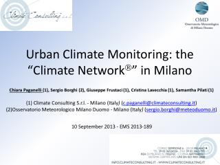"""Urban Climate  Monitoring : the """" Climate  Network  """" in Milano"""