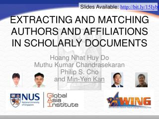 EXTRACTING AND MATCHING AUTHORS AND AFFILIATIONS IN SCHOLARLY DOCUMENTS