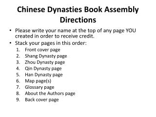 Chinese Dynasties Book Assembly Directions