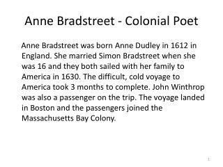 Anne Bradstreet - Colonial Poet