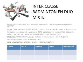 INTER CLASSE BADMINTON EN DUO MIXTE