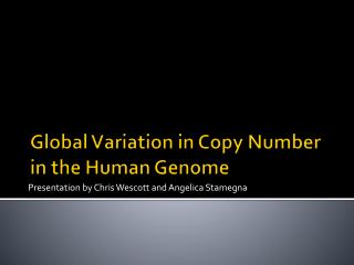 Global Variation in Copy Number in the Human Genome