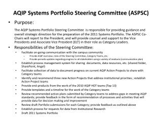 AQIP Systems Portfolio Steering Committee (ASPSC)