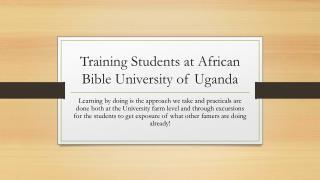 Training Students at African Bible University of Uganda