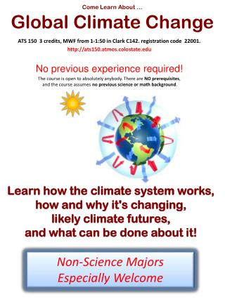 Come Learn About … Global Climate Change